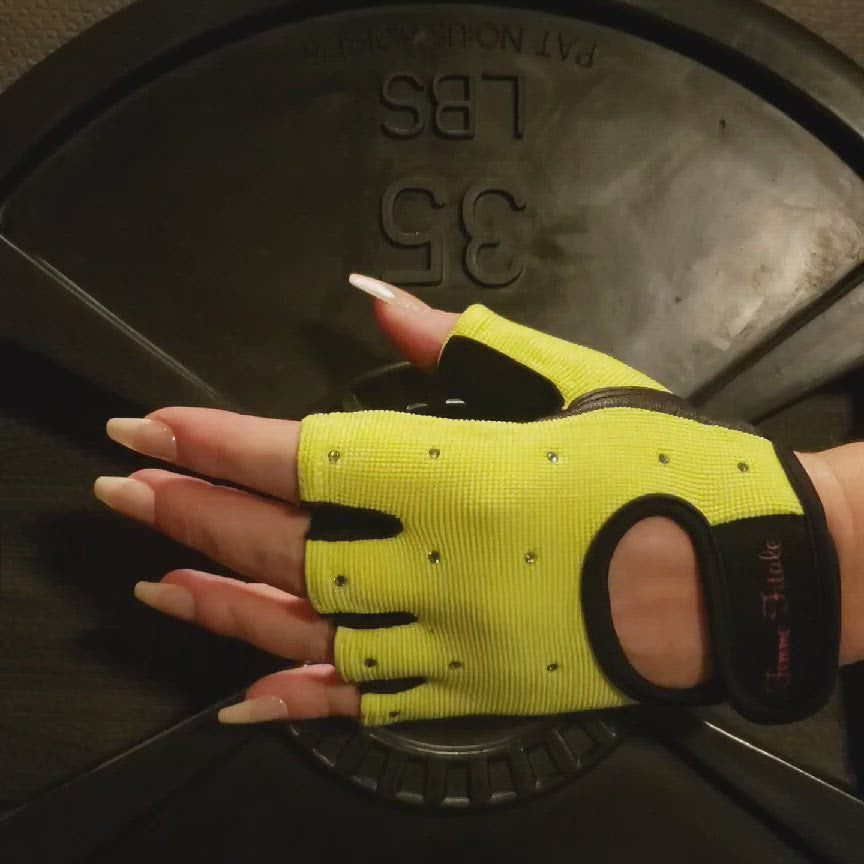 Load and play video in Gallery viewer, Fluorescent Green Swarovski Crystal Embellished Fitness Gloves