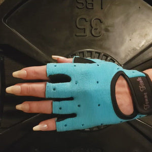 Load and play video in Gallery viewer, Turquoise Blue Swarovski Crystal Embellished Fitness Gloves