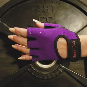 Load and play video in Gallery viewer, Purple Swarovski Crystal Embellished Fitness Gloves