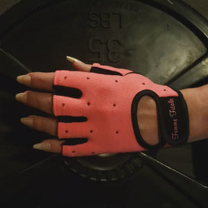 Load and play video in Gallery viewer, Coral Swarovski Crystal Embellished Fitness Gloves