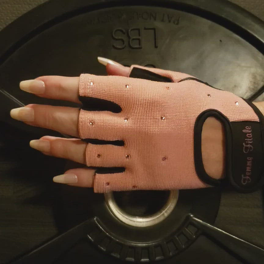 Load and play video in Gallery viewer, Light Pink Swarovski Crystal Embellished Fitness Gloves