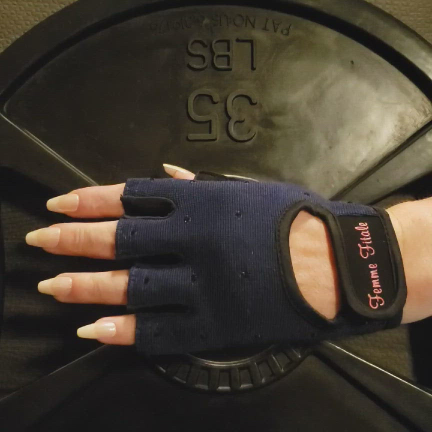 Load and play video in Gallery viewer, Navy Blue Swarovski Crystal Embellished Fitness Gloves