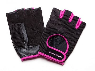 Load image into Gallery viewer, Black with Fuchsia Accents Swarovski Crystal Embellished Fitness Gloves
