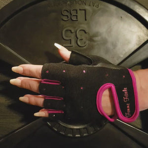 Load and play video in Gallery viewer, Black with Fuchsia Accents Swarovski Crystal Embellished Fitness Gloves