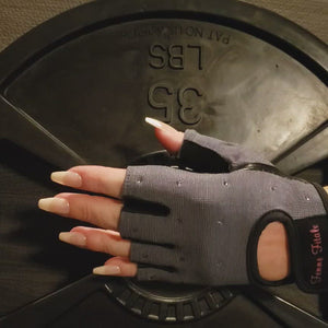 Load and play video in Gallery viewer, Steel Gray Swarovski Crystal Embellished Fitness Gloves