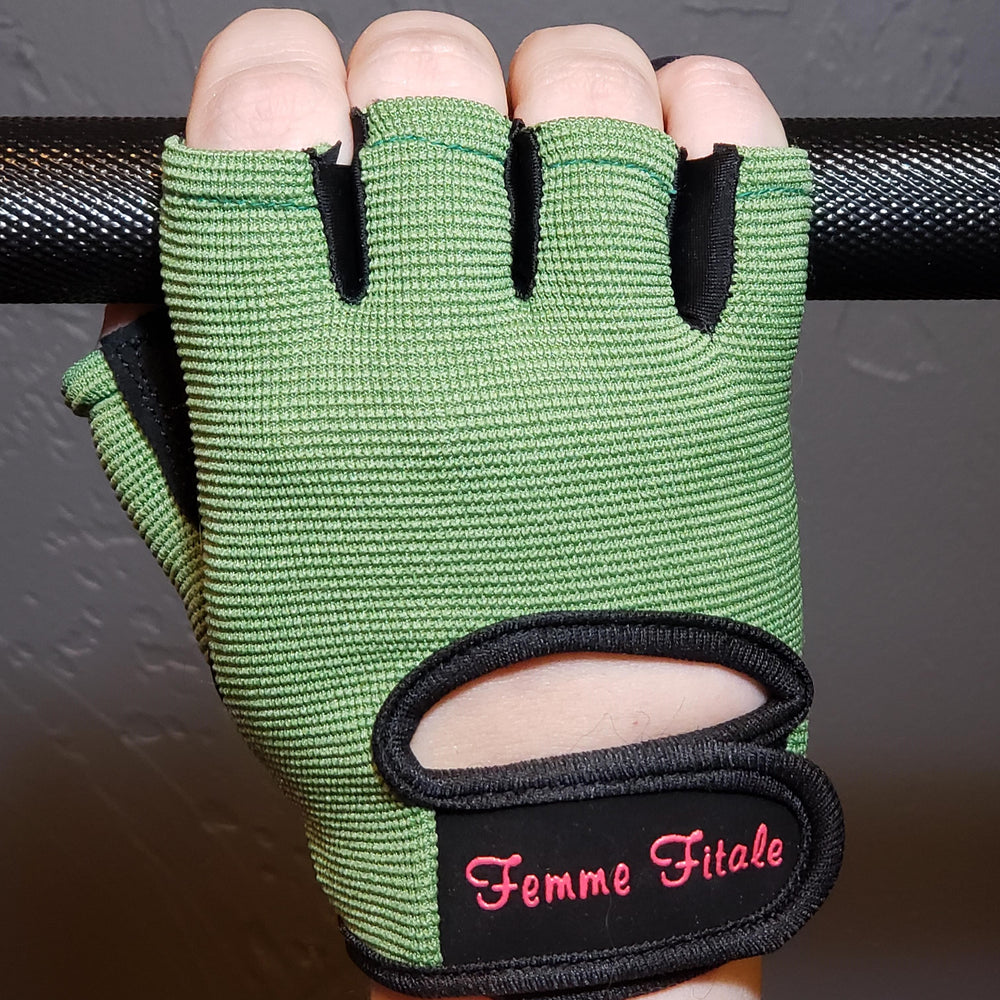 Olive Green Fitness Gloves - No Crystals **NEW COLOR**
