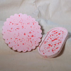 Valentine's Day Collection Pink, Scalloped Edge Trinket Plate, With Terrazzo-Style Red & White Chip Pattern - Handmade by Haboo.ie