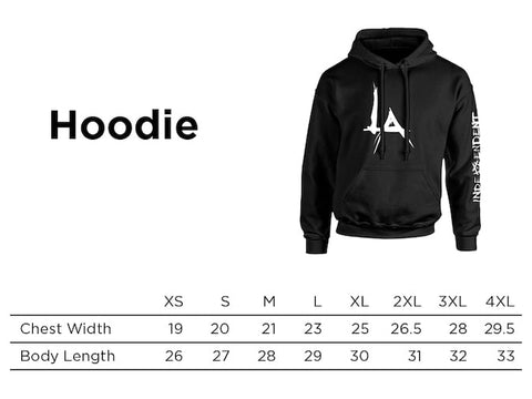 The Pentagon LA Hoodie Sizing Chart