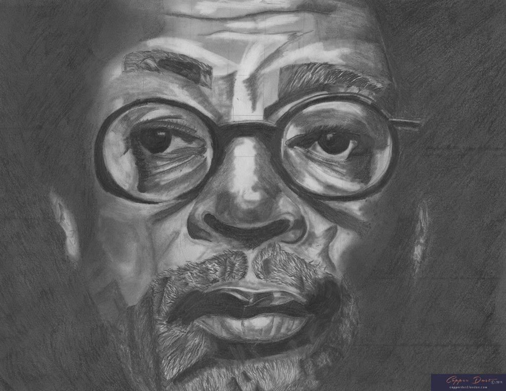 Spike Lee black and white portrait