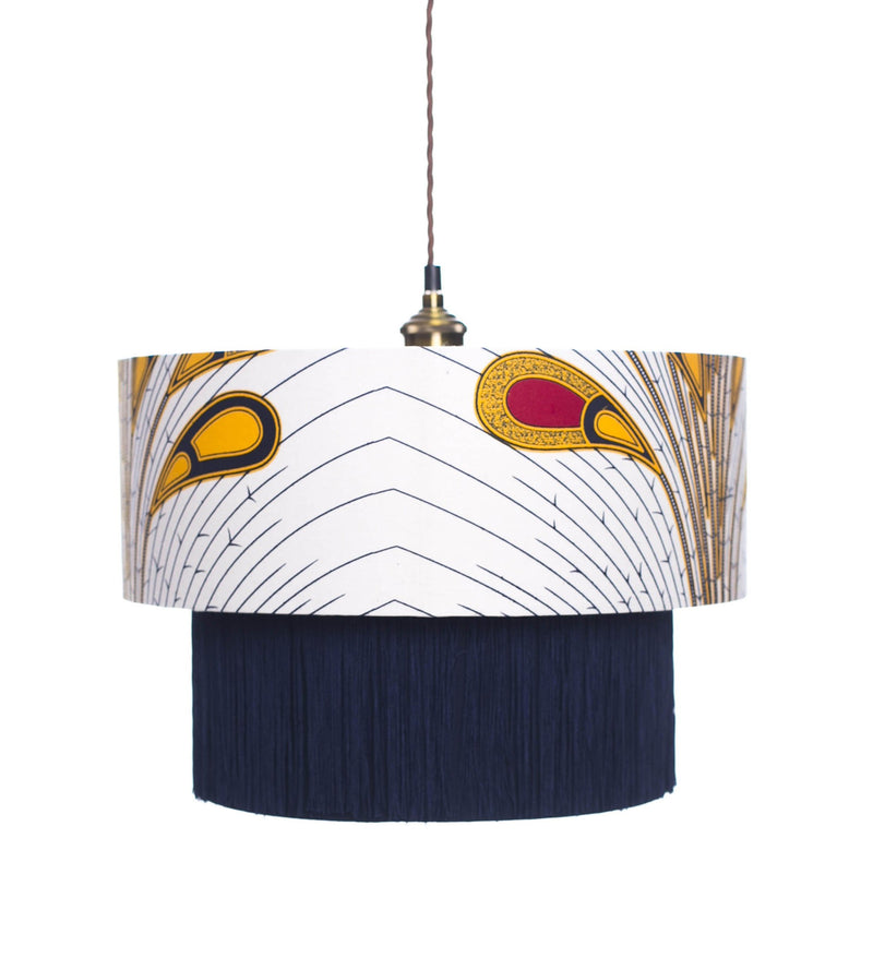 Osu Yellow & Red Peacock Lamp shade Lifestyle