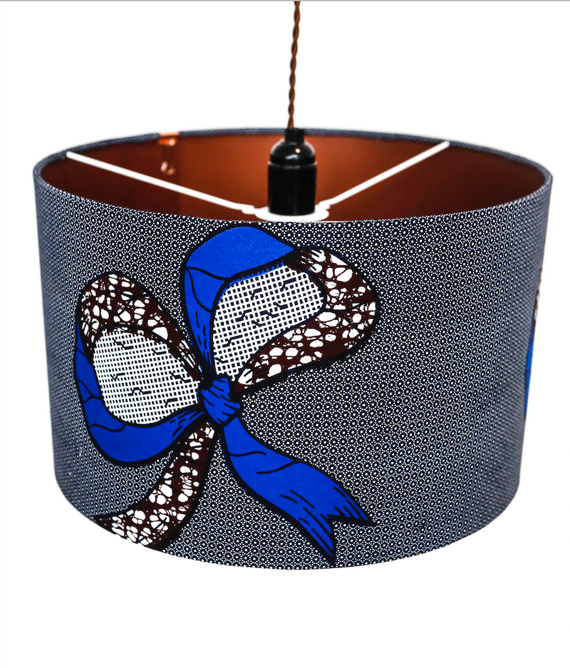Fanti blue ribbon lampshade detail