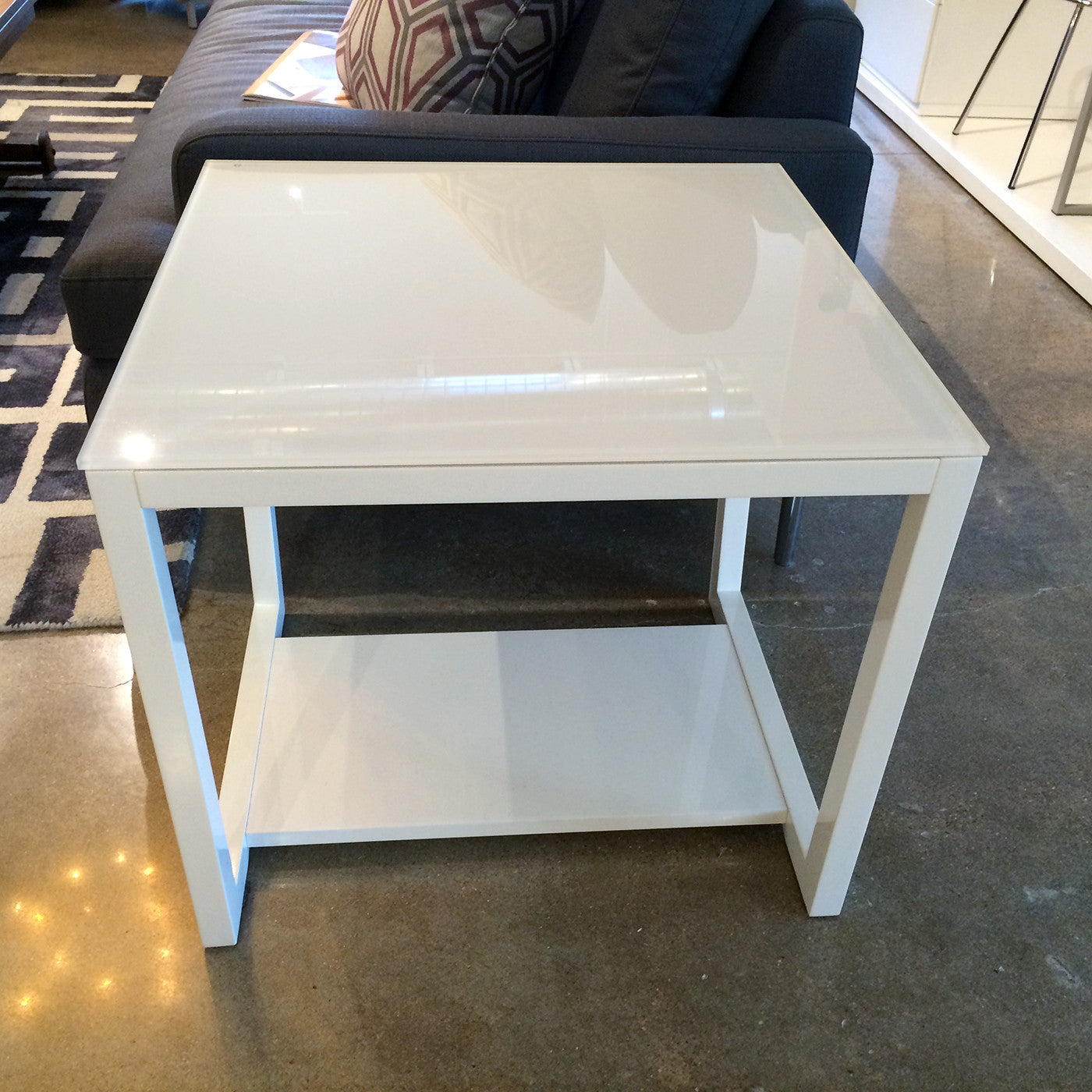 White High Gloss Side End Square 2 Seats Of Coffee Table: Sale On Tall Glass Top Contemporary Side Table.