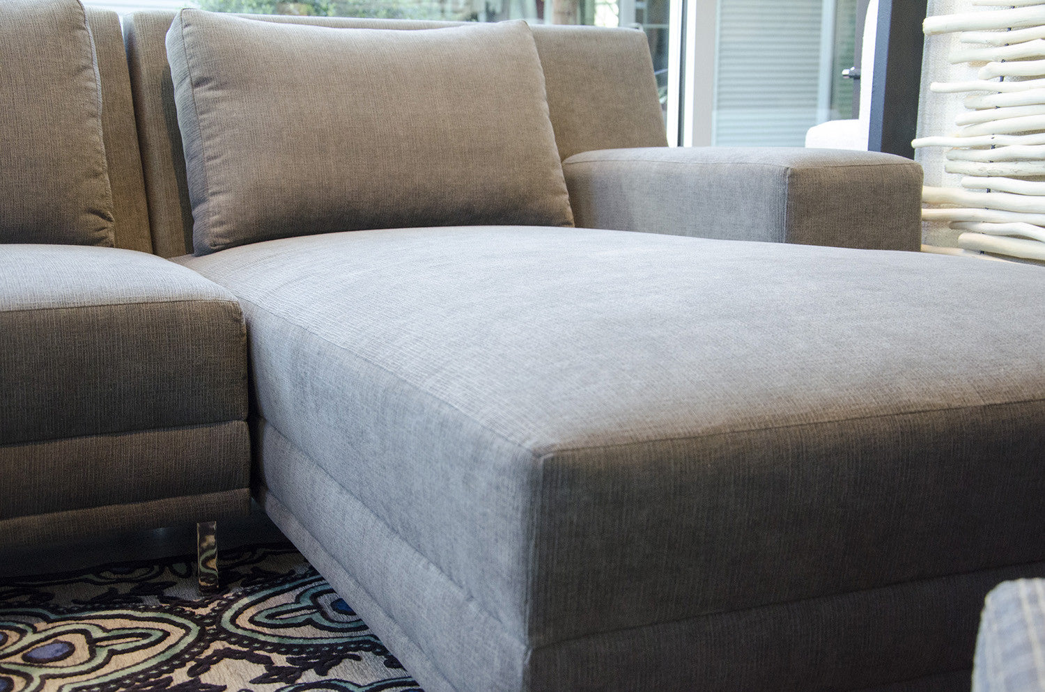 The piazza chaise sectional by lazar industries in crypton fabric five elements furniture