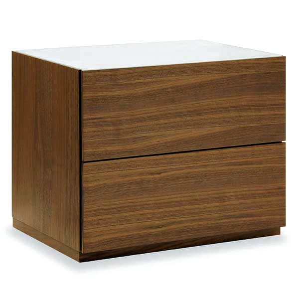 Calligaris City Nightstand In Walnut With Glass Top