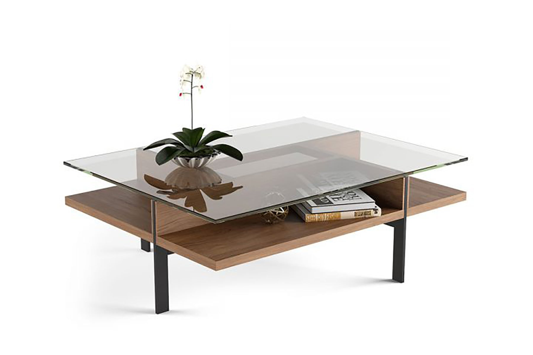 Picture of: Terrace Rectangular Glass Coffee Table With Storage Real Oak Veneer And Tempered Glass Five Elements Furniture