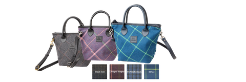 Three J&L Tweed Gemma handbags lined up next to each other in different tweed offerings