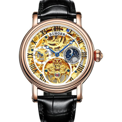 BINGER Men's Watch Automatic Mechanical Stainless Steel Skeleton Leather Band - Grmontre Watches