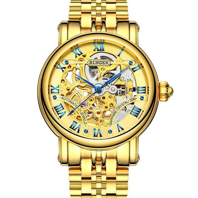 Binger Luxury Gold Automatic Watches Mens Skeleton Fashion Business Watch  B-5066 - Grmontre Watches
