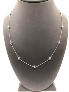 14K WG DIAMOND BY THE YARD STYLE NECKLACE- 0.33CT