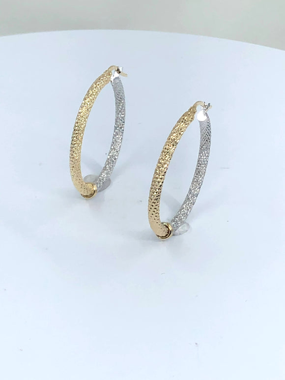 14K 2 TONE LARGE FANCY HOOP EARRINGS