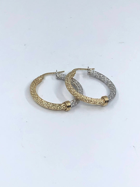 14K 2 TONE MEDIUM FANCY HOOP EARRINGS