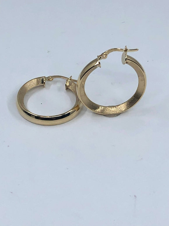 14K YG  MEDIUM FANCY HOOP EARRINGS
