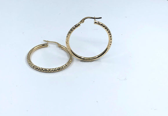 14K YG MEDIUM DIAMOND CUT HOOP EARRINGS