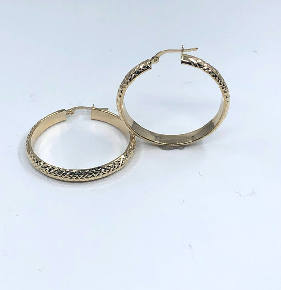 14K YG LARGE DIAMOND CUT FLAT HOOP EARRINGS