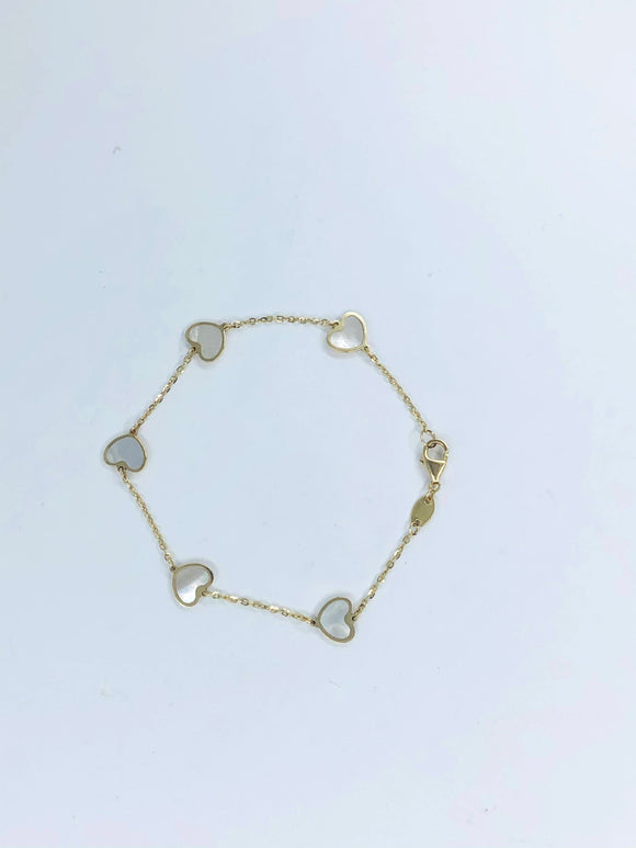 14K YG BABY GIRL BRACELET WITH MOTHER OF PEARL HEARTS  ALL AROUND