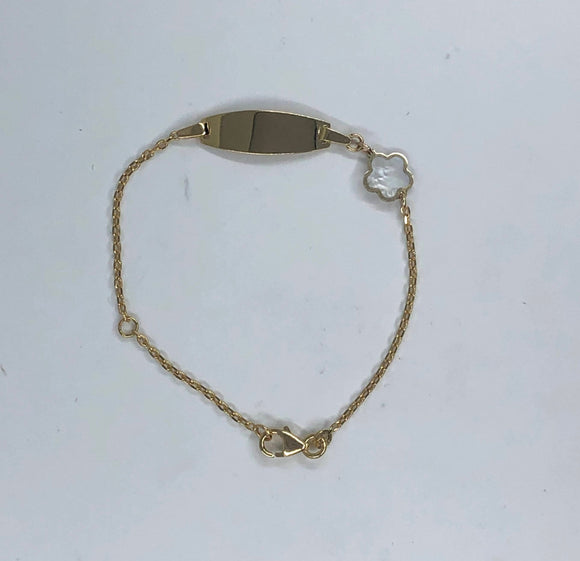 14K YG BABY GIRL ID BRACELET WITH MOTHER OF PEARL FLOWER CHARM