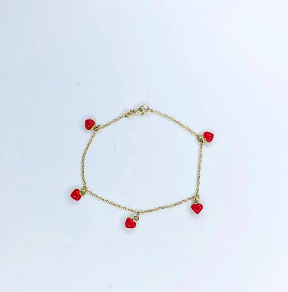 14K YG BABY GIRL BRACELET WITH RED ENAMEL HEARTS ALL AROUND