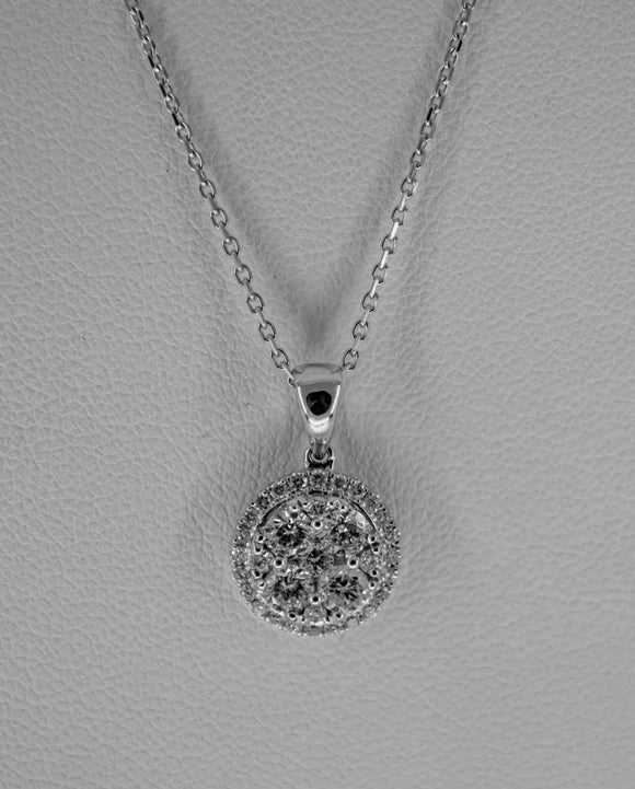 18K WG WOMEN'S HALO DIAMOND PENDANT- 0.81CT