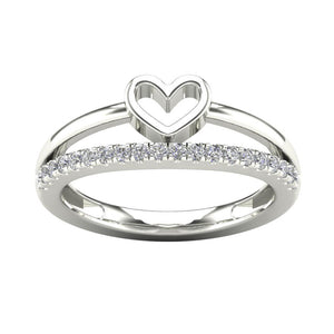 14K GOLD DIAMOND OPEN HEART SHAPE 2 LINES WOMEN'S RING-0.24CT