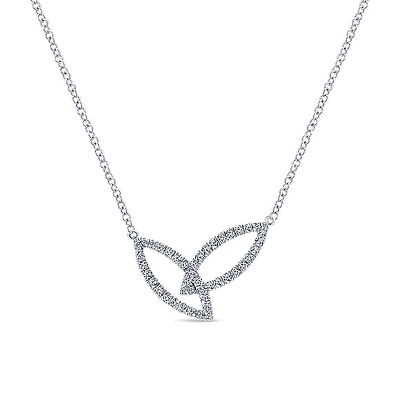 14K WG DIAMOND YOU & ME FOREVER NECKLACE BY GABRIEL & CO. - 0.32CT