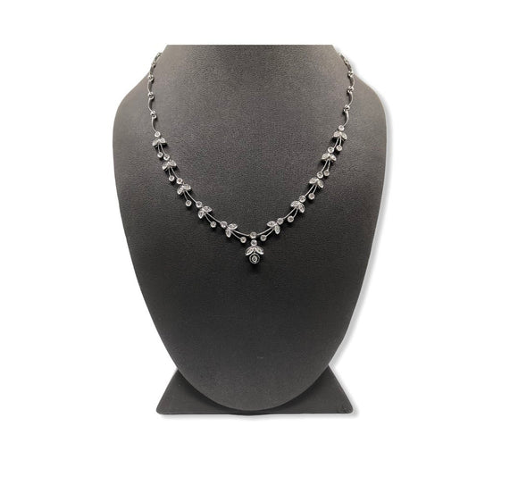 14K WG DIAMOND FLORAL NECKLACE- 0.50CT