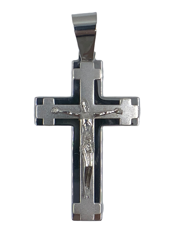 14K WG MEN'S X-LARGE SOLID FANCY CROSS