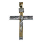 14K 2TONE MEN'S LARGE SOLID FANCY CROSS