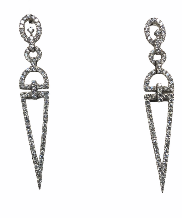 18K WG DIAMOND HANGING TRIANGLE DROP EARRINGS- 2.50CT