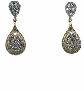 18K 2 TONE DIAMOND HANGING TEAR DROP EARRINGS- 3.80CT