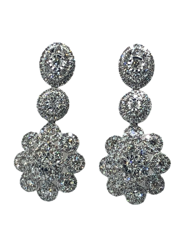18K WG DIAMOND HANGING FLOWER MOTIF EARRINGS- 4.25CT