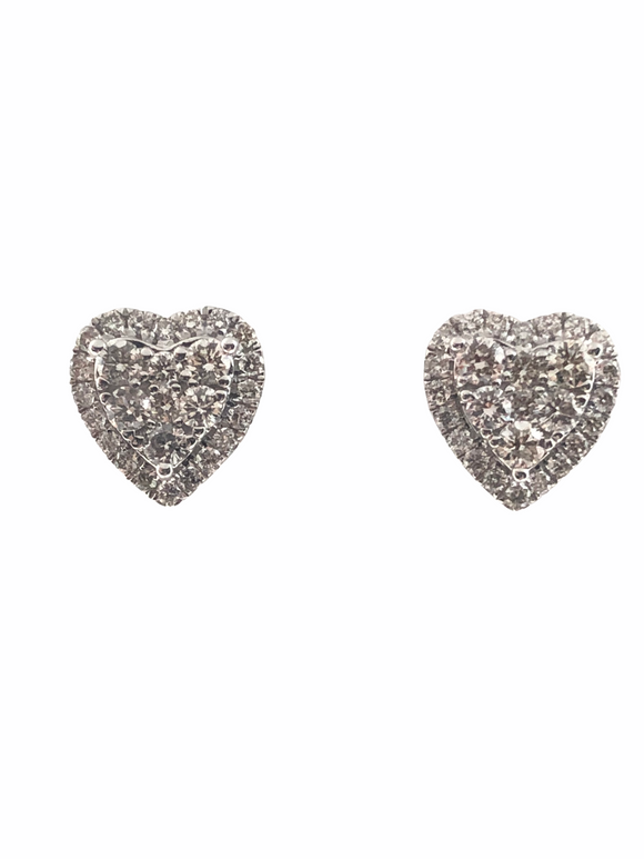 18K WG DIAMOND HEART EARRINGS- 1.16CT