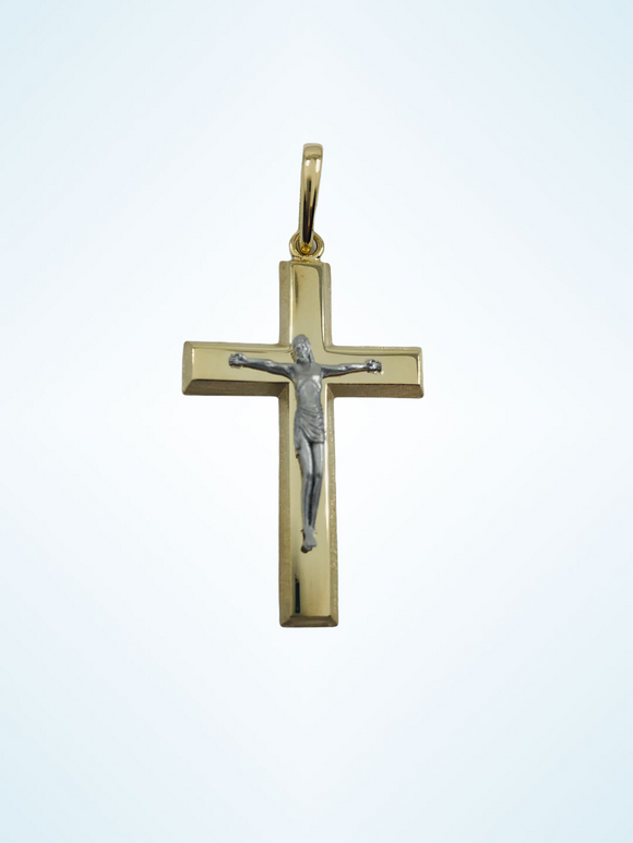 14K YG PLAIN SMALL TRADITIONAL FLAT MEN'S CROSS