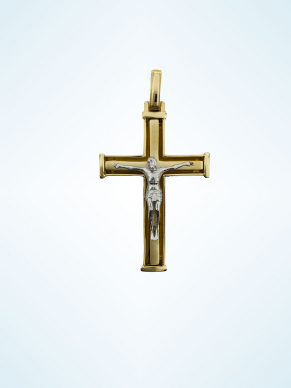 14K YG MEN'S SOLID FANCY CROSS