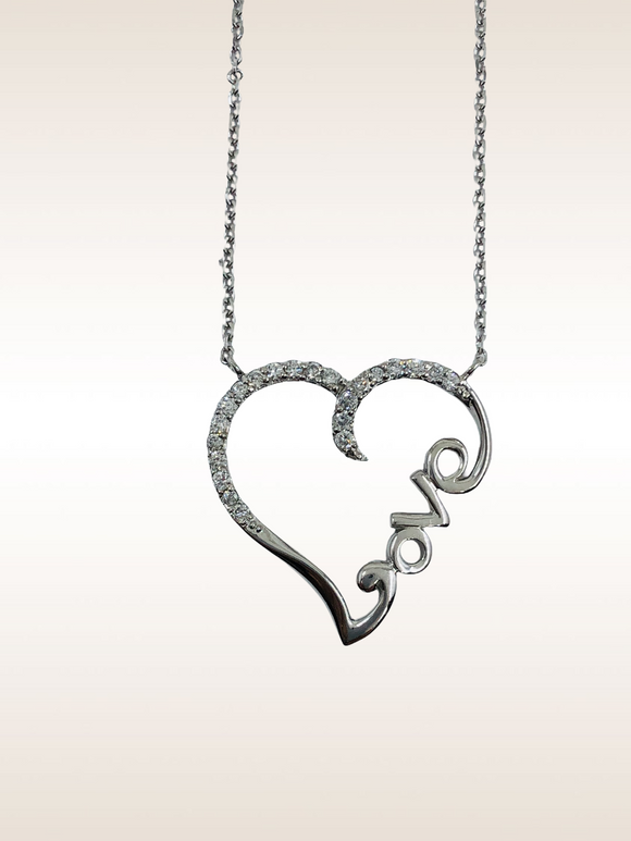 14K WG DIAMOND LOVE HEART NECKLACE- 0.25CT