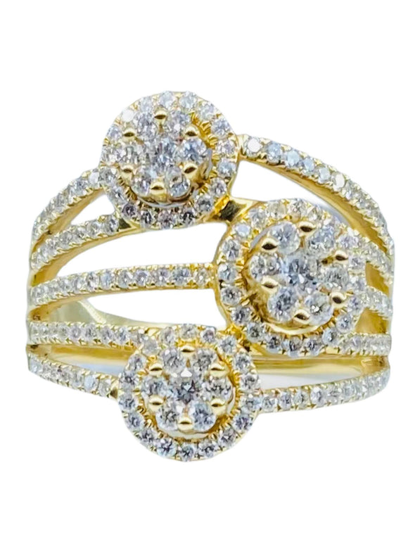 14K YG DIAMOND FASHION WOMEN'S RING-1.22CT