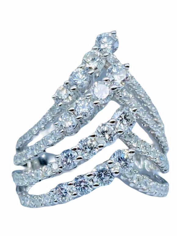 18K WG DIAMOND FASHION MULTI-ROW WOMEN'S RING-2.00CT
