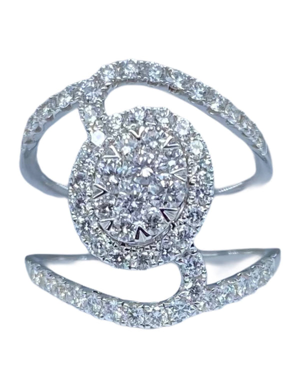 18K WG DIAMOND FASHION WOMEN'S RING-1.27CT