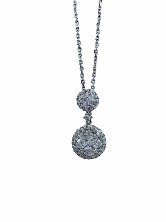 18K WG WOMEN'S FINE DIAMOND PENDANT- 0.92CT