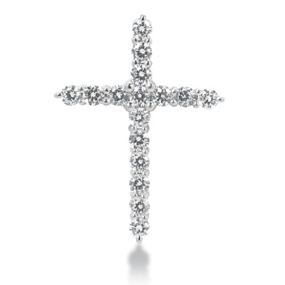 14K WG CLASSIC DIAMOND CROSS 16 STONES-0.90CT