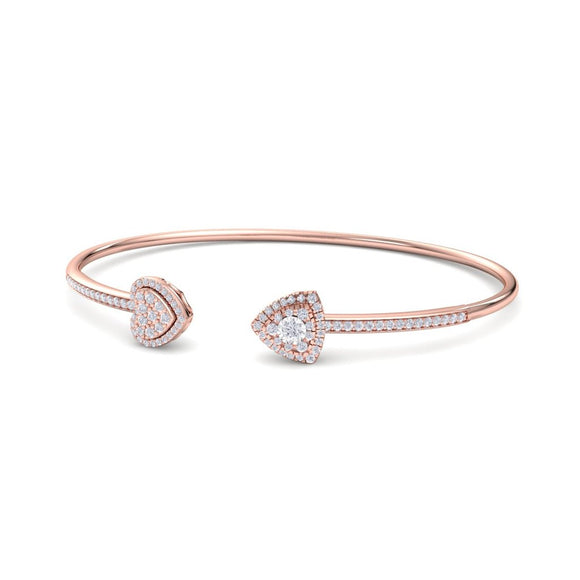 14K RG HEART & ARROW WOMEN'S FANCY DIAMOND OPEN BANGLE-0.50CT